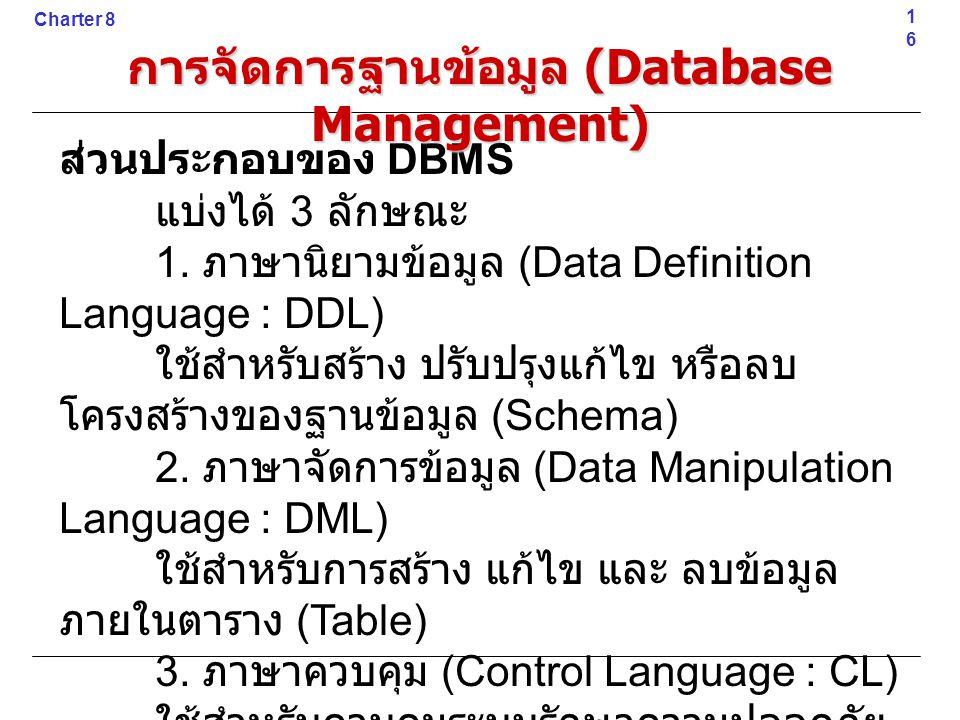 ส่วนประกอบของ DBMS แบ่งได้ 3 ลักษณะ 1. ภาษานิยามข้อมูล (Data Definition Language : DDL) ใช้สำหรับสร้าง ปรับปรุงแก้ไข หรือลบ โครงสร้างของฐานข้อมูล (Sch
