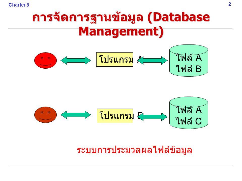 ฐานข้อมูลแบบเชิงสัมพันธ์ (Relational Database) มีลักษณะการจัดเก็บเป็นแบบตาราง (Table) หรือ Relation ภายในตารางจะ ประกอบด้วยแถว (Rows) และหลัก (Columns) ข้อมูลในแต่ละแถวจะเรียกว่า เรคคอร์ด (Record)13 Charter 8 การจัดการฐานข้อมูล (Database Management)