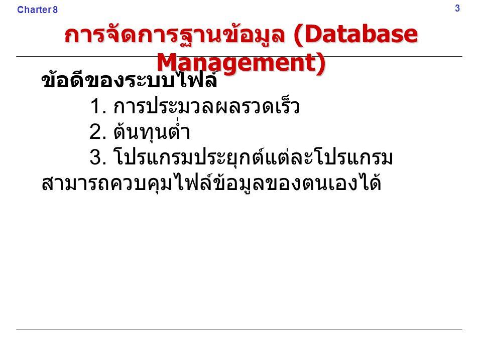 ข้อดีของระบบไฟล์ 1. การประมวลผลรวดเร็ว 2. ต้นทุนต่ำ 3. โปรแกรมประยุกต์แต่ละโปรแกรม สามารถควบคุมไฟล์ข้อมูลของตนเองได้ 3 Charter 8 การจัดการฐานข้อมูล (D