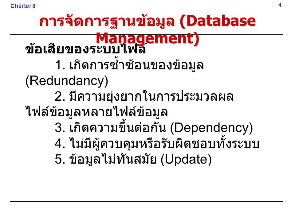 ฐานข้อมูล (Database) คือการ รวบรวมข้อมูลต่าง ๆ ที่มีความสัมพันธ์กัน ไว้ในที่เดียวกัน ในการจัดการกับฐานข้อมูลนั้นต้อง ใช้โปรแกรมที่ทำหน้าที่เฉพาะด้านเรียกว่า ระบบจัดการฐานข้อมูล (Database Management System : DBMS) 5 Charter 8 การจัดการฐานข้อมูล (Database Management)