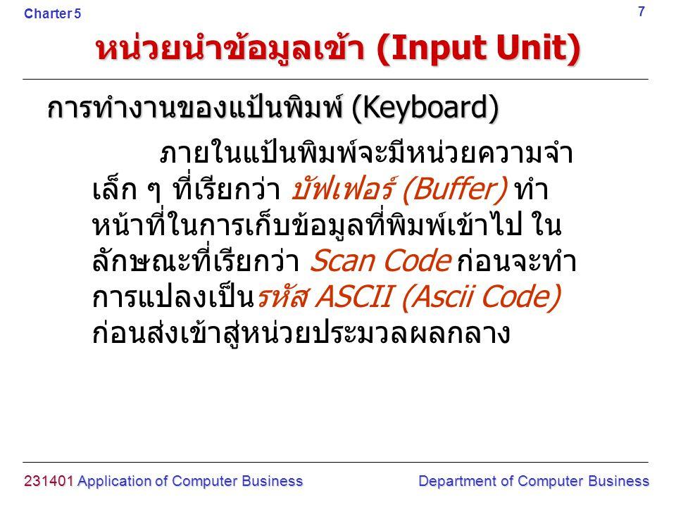หน่วยนำข้อมูลเข้า (Input Unit) 231401 Application of Computer Business Department of Computer Business 8 Charter 5 เรื่องที่สอน 1.
