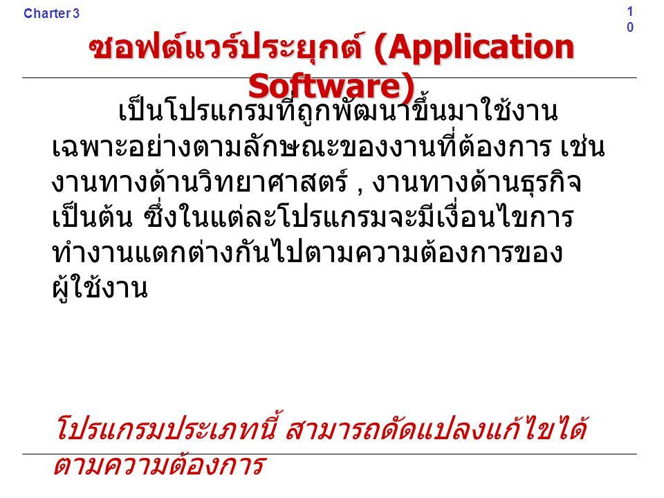 ซอฟต์แวร์ประยุกต์ (Application Software) เป็นโปรแกรมที่ถูกพัฒนาขึ้นมาใช้งาน เฉพาะอย่างตามลักษณะของงานที่ต้องการ เช่น งานทางด้านวิทยาศาสตร์, งานทางด้าน