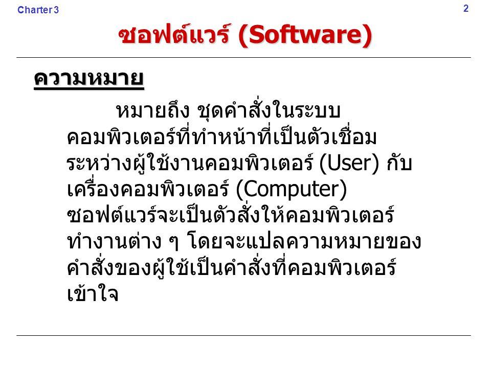 ซอฟต์แวร์ (Software) ความหมาย หมายถึง ชุดคำสั่งในระบบ คอมพิวเตอร์ที่ทำหน้าที่เป็นตัวเชื่อม ระหว่างผู้ใช้งานคอมพิวเตอร์ (User) กับ เครื่องคอมพิวเตอร์ (