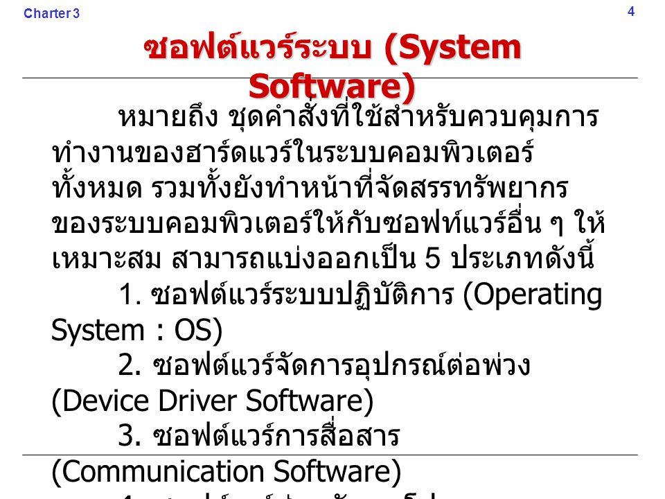 ซอฟต์แวร์ระบบ (System Software) หมายถึง ชุดคำสั่งที่ใช้สำหรับควบคุมการ ทำงานของฮาร์ดแวร์ในระบบคอมพิวเตอร์ ทั้งหมด รวมทั้งยังทำหน้าที่จัดสรรทรัพยากร ขอ