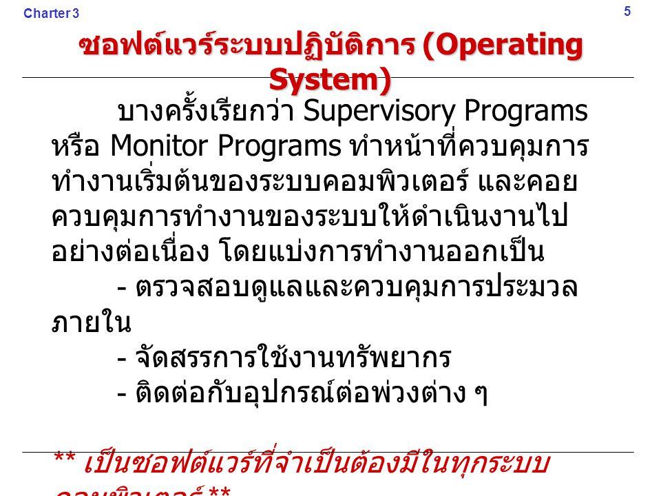 ซอฟต์แวร์ระบบปฏิบัติการ (Operating System) บางครั้งเรียกว่า Supervisory Programs หรือ Monitor Programs ทำหน้าที่ควบคุมการ ทำงานเริ่มต้นของระบบคอมพิวเต