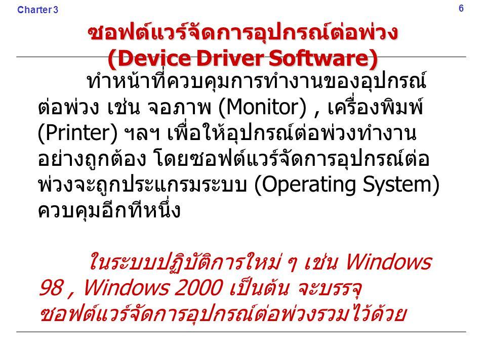 ซอฟต์แวร์จัดการอุปกรณ์ต่อพ่วง (Device Driver Software) ทำหน้าที่ควบคุมการทำงานของอุปกรณ์ ต่อพ่วง เช่น จอภาพ (Monitor), เครื่องพิมพ์ (Printer) ฯลฯ เพื่