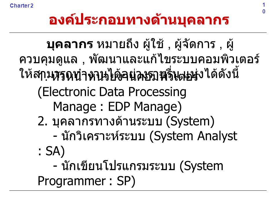 องค์ประกอบทางด้านบุคลากร 1. หัวหน้าหน่วยงานคอมพิวเตอร์ (Electronic Data Processing Manage : EDP Manage) 2. บุคลากรทางด้านระบบ (System) - นักวิเคราะห์ร