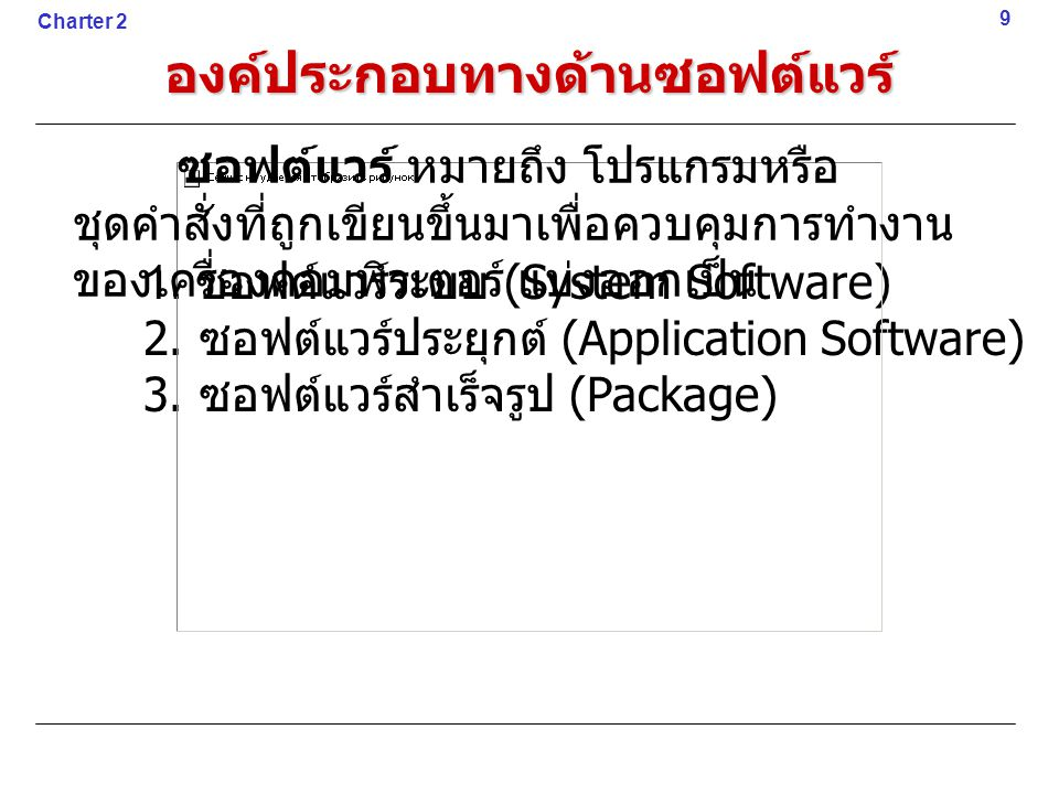 องค์ประกอบทางด้านซอฟต์แวร์ 1. ซอฟต์แวร์ระบบ (System Software) 2. ซอฟต์แวร์ประยุกต์ (Application Software) 3. ซอฟต์แวร์สำเร็จรูป (Package) 9 Charter 2
