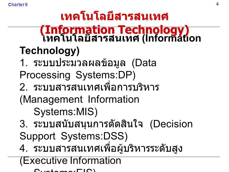 1. ระบบประมวลผลข้อมูล (Data Processing Systems:DP) 2. ระบบสารสนเทศเพื่อการบริหาร (Management Information Systems:MIS) 3. ระบบสนับสนุนการตัดสินใจ (Deci