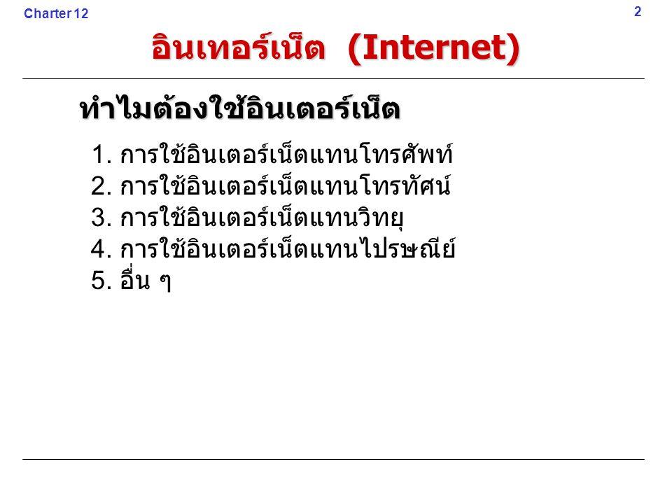 1. การใช้อินเตอร์เน็ตแทนโทรศัพท์ 2. การใช้อินเตอร์เน็ตแทนโทรทัศน์ 3. การใช้อินเตอร์เน็ตแทนวิทยุ 4. การใช้อินเตอร์เน็ตแทนไปรษณีย์ 5. อื่น ๆ 2 Charter 1