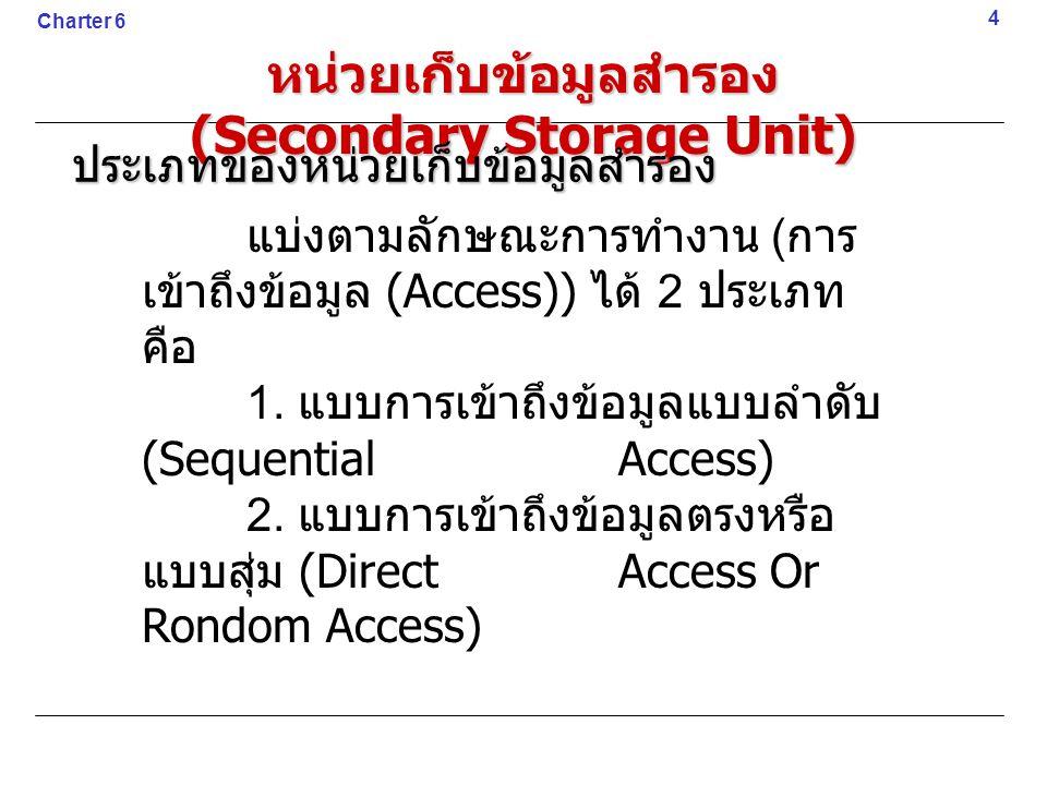 4 Charter 6 หน่วยเก็บข้อมูลสำรอง (Secondary Storage Unit) ประเภทของหน่วยเก็บข้อมูลสำรอง แบ่งตามลักษณะการทำงาน ( การ เข้าถึงข้อมูล (Access)) ได้ 2 ประเ