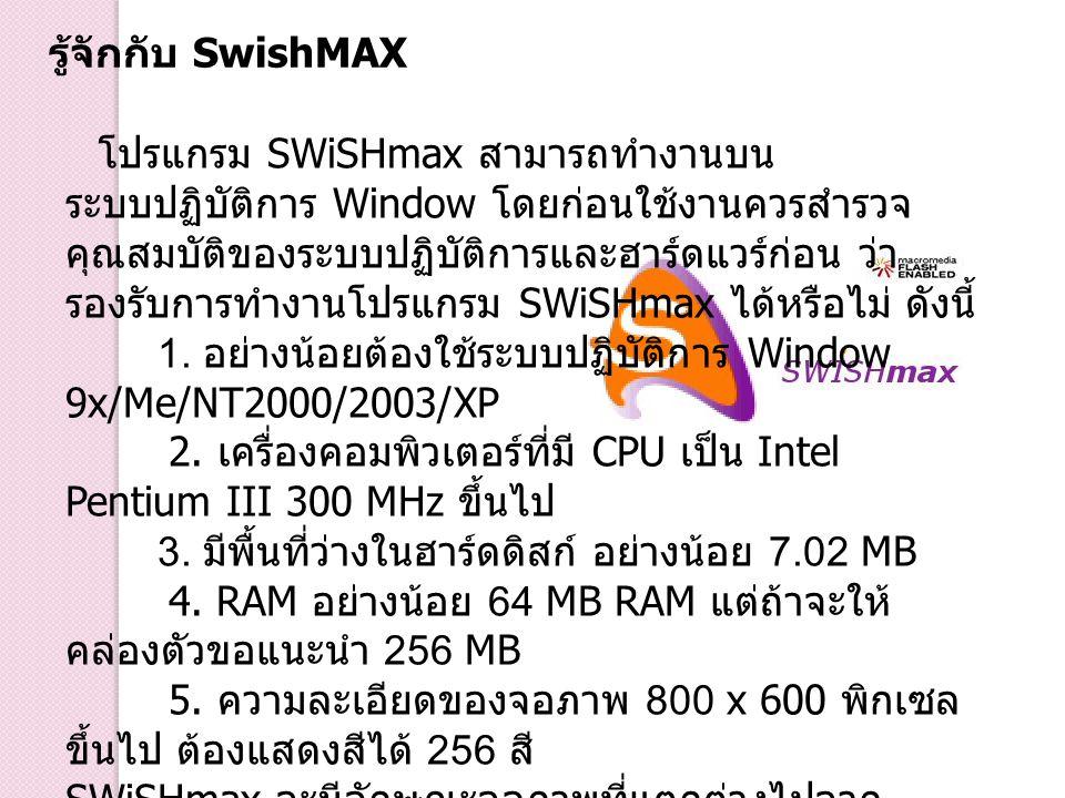 โปรแกรม SWiSHmax สามารถทำงานบน ระบบปฏิบัติการ Window โดยก่อนใช้งานควรสำรวจ คุณสมบัติของระบบปฏิบัติการและฮาร์ดแวร์ก่อน ว่า รองรับการทำงานโปรแกรม SWiSHm