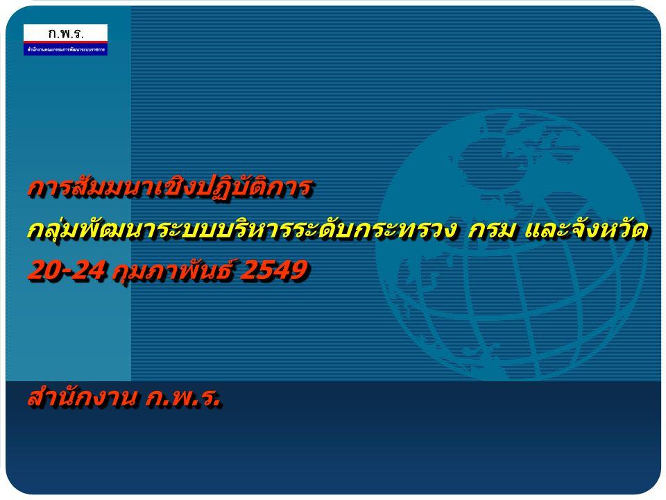 การสัมมนาเชิงปฏิบัติการ กลุ่มพัฒนาระบบบริหารระดับกระทรวง กรม และจังหวัด 20-24 กุมภาพันธ์ 2549 สำนักงาน ก.พ.ร.