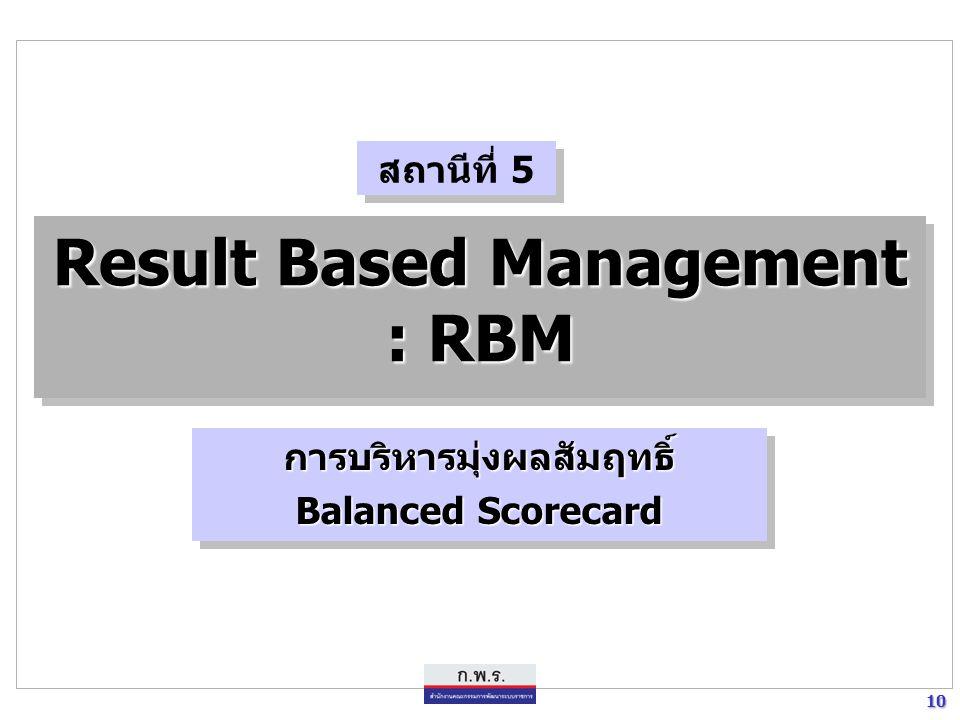 10 10 Result Based Management : RBM การบริหารมุ่งผลสัมฤทธิ์ Balanced Scorecard การบริหารมุ่งผลสัมฤทธิ์ สถานีที่ 5