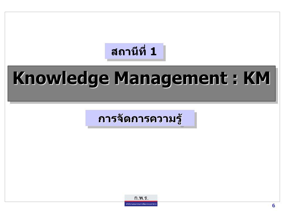 6 6 Knowledge Management : KM การจัดการความรู้การจัดการความรู้ สถานีที่ 1