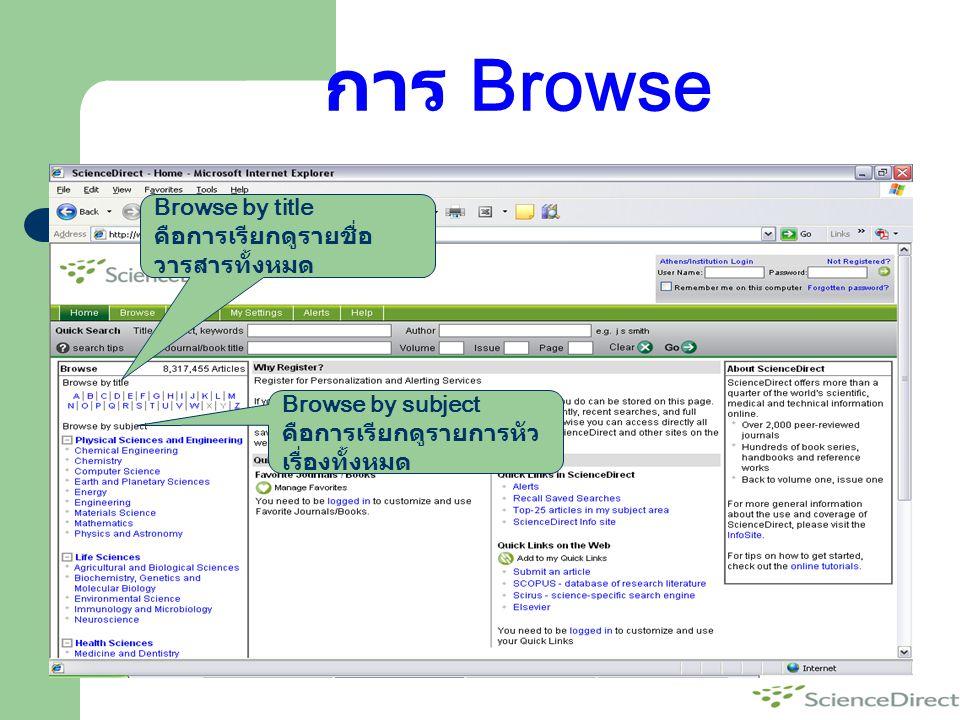 การ Browse Browse by title คือการเรียกดูรายชื่อ วารสารทั้งหมด Browse by subject คือการเรียกดูรายการหัว เรื่องทั้งหมด