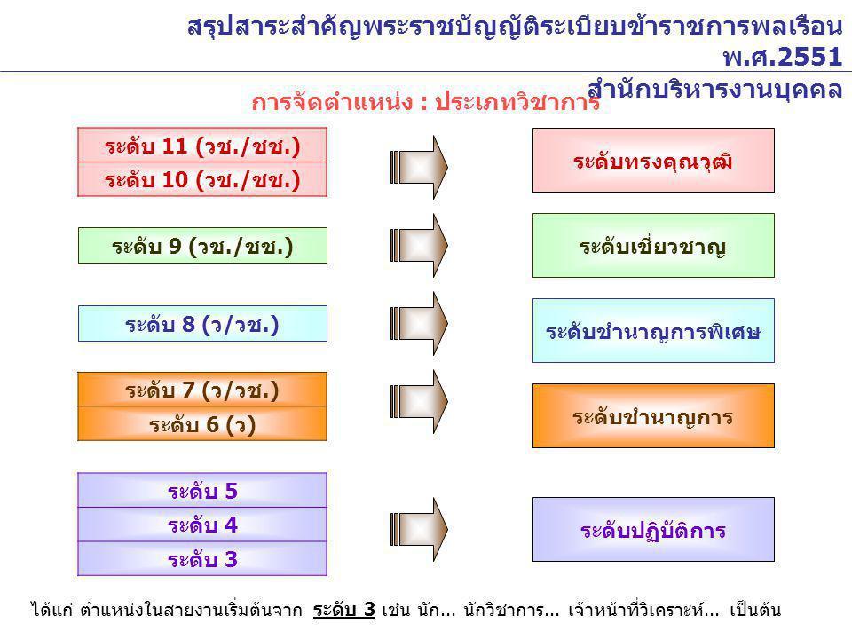 การจัดตำแหน่ง : ประเภทวิชาการ ระดับ 11 ( วช./ ชช.) ระดับ 10 ( วช./ ชช.) ระดับ 9 ( วช./ ชช.) ระดับ 8 ( ว / วช.) ระดับ 7 ( ว / วช.) ระดับ 6 ( ว ) ระดับ