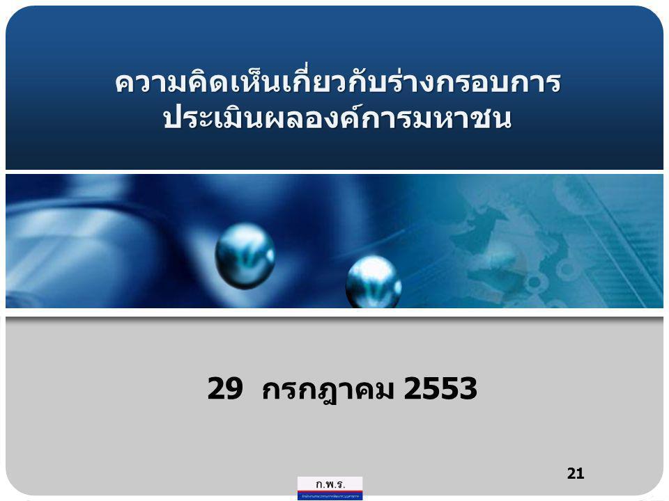ความคิดเห็นเกี่ยวกับร่างกรอบการ ประเมินผลองค์การมหาชน 29 กรกฎาคม 2553 21