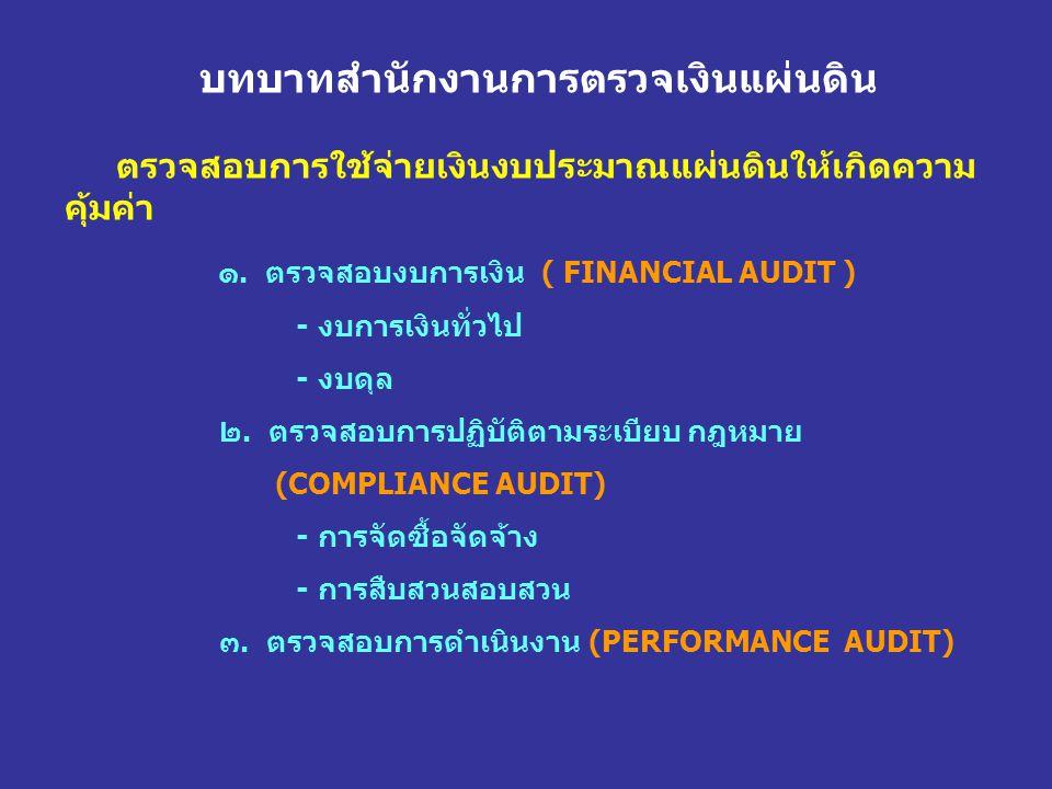 บทบาทสำนักงานการตรวจเงินแผ่นดิน ตรวจสอบการใช้จ่ายเงินงบประมาณแผ่นดินให้เกิดความ คุ้มค่า ๑. ตรวจสอบงบการเงิน ( FINANCIAL AUDIT ) - งบการเงินทั่วไป - งบ