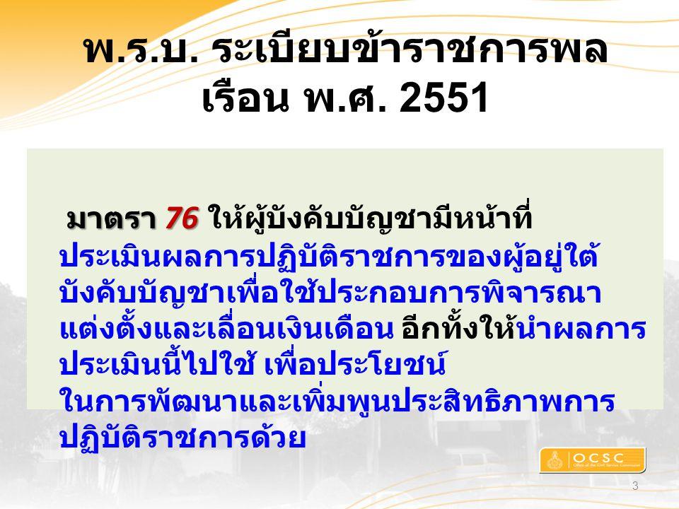 พ.ร.บ. ระเบียบข้าราชการพล เรือน พ.ศ. 2551 3 มาตรา 76 มาตรา 76 ให้ผู้บังคับบัญชามีหน้าที่ ประเมินผลการปฏิบัติราชการของผู้อยู่ใต้ บังคับบัญชาเพื่อใช้ประ