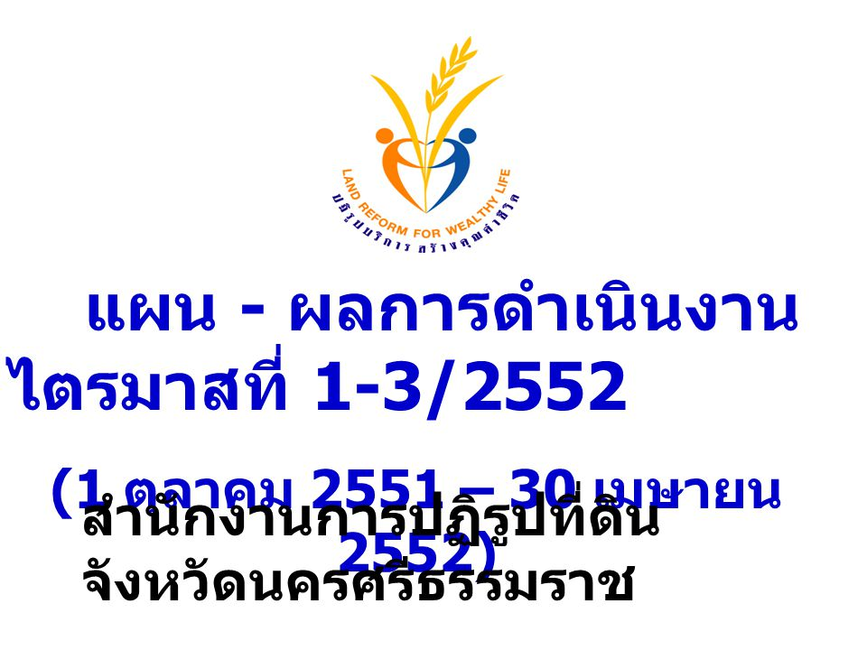 แผน - ผลการดำเนินงาน ไตรมาสที่ 1-3/2552 (1 ตุลาคม 2551 – 30 เมษายน 2552) สำนักงานการปฏิรูปที่ดิน จังหวัดนครศรีธรรมราช