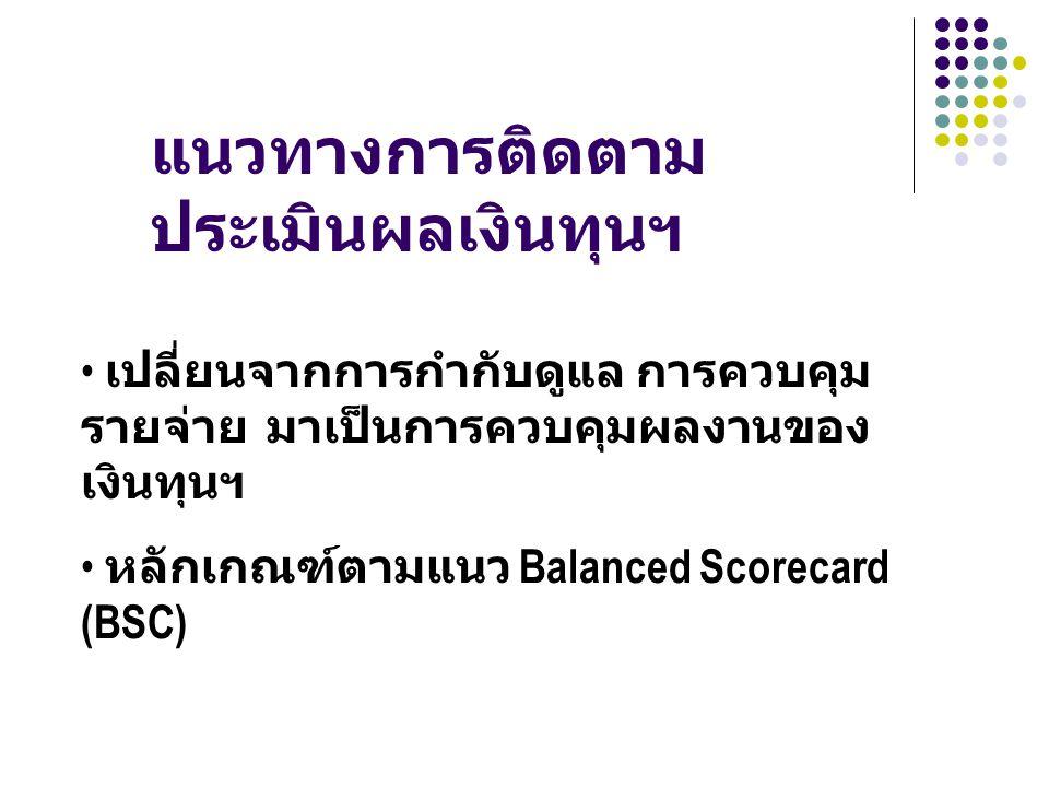 แนวทางการติดตาม ประเมินผลเงินทุนฯ เปลี่ยนจากการกำกับดูแล การควบคุม รายจ่าย มาเป็นการควบคุมผลงานของ เงินทุนฯ หลักเกณฑ์ตามแนว Balanced Scorecard (BSC)