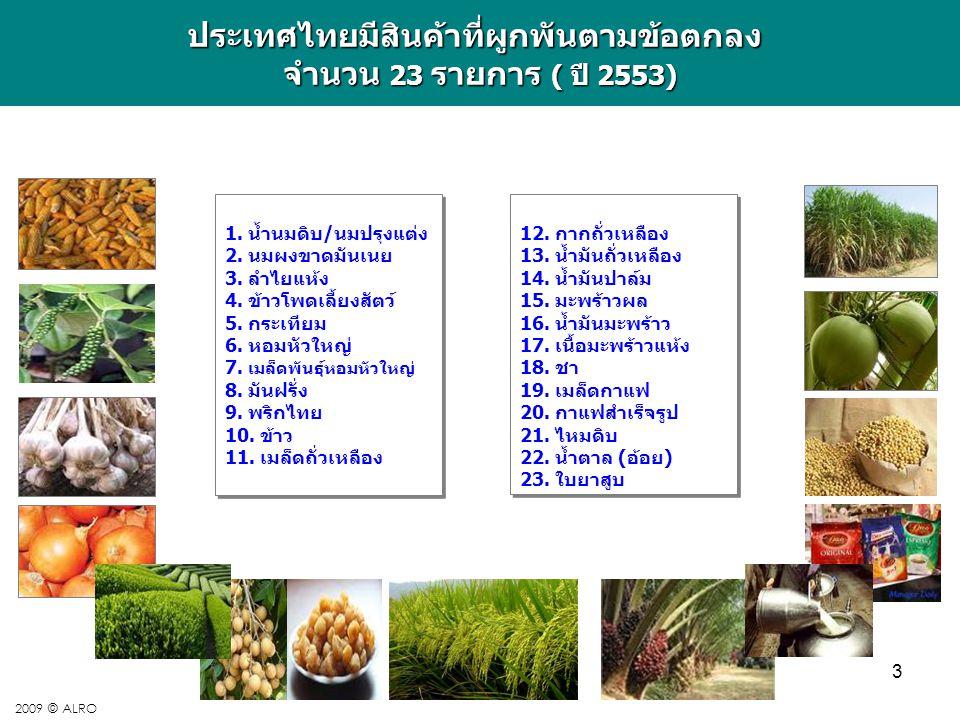 3 2009 © ALROประเทศไทยมีสินค้าที่ผูกพันตามข้อตกลง จำนวน 23 รายการ ( ปี 2553) 1. น้ำนมดิบ/นมปรุงแต่ง 2. นมผงขาดมันเนย 3. ลำไยแห้ง 4. ข้าวโพดเลี้ยงสัตว์
