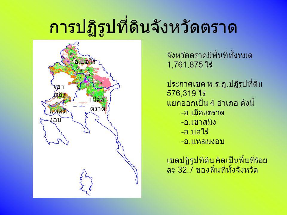 การปฏิรูปที่ดินจังหวัดตราด จังหวัดตราดมีพื้นที่ทั้งหมด 1,761,875 ไร่ ประกาศเขต พ. ร. ฎ. ปฏิรูปที่ดิน 576,319 ไร่ แยกออกเป็น 4 อำเภอ ดังนี้ - อ. เมืองต