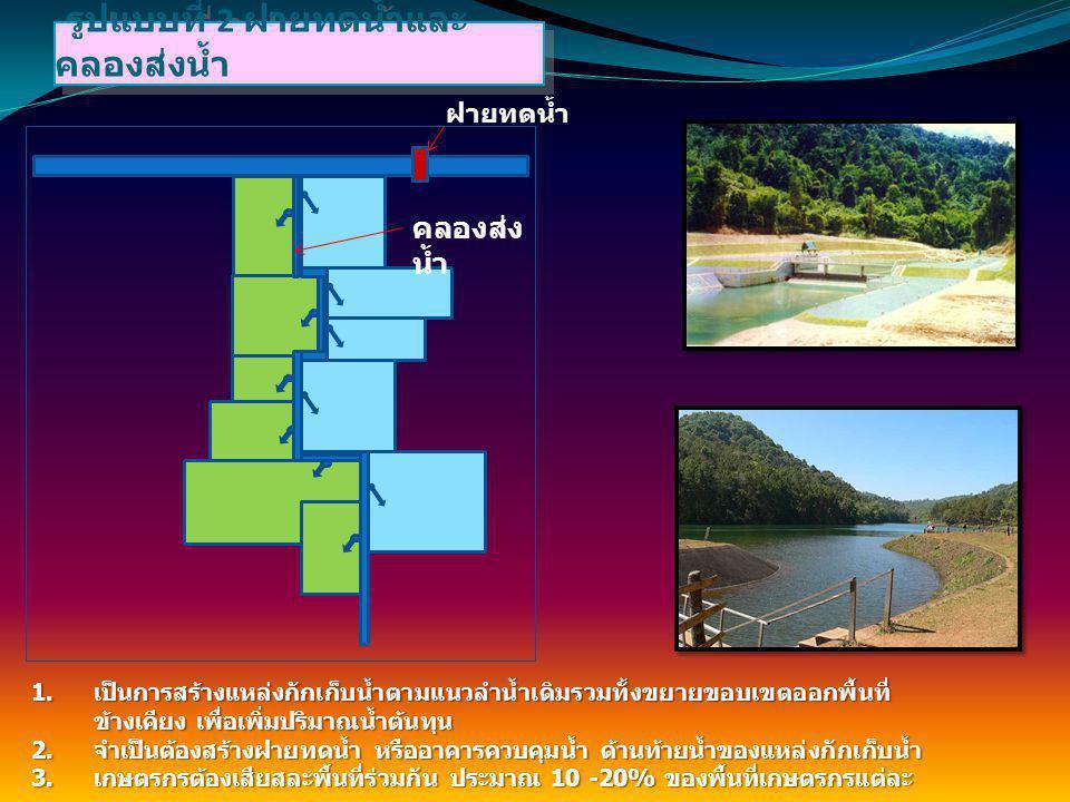 1. เป็นการสร้างแหล่งกักเก็บน้ำตามแนวลำน้ำเดิมรวมทั้งขยายขอบเขตออกพื้นที่ ข้างเคียง เพื่อเพิ่มปริมาณน้ำต้นทุน 2. จำเป็นต้องสร้างฝายทดน้ำ หรืออาคารควบคุ