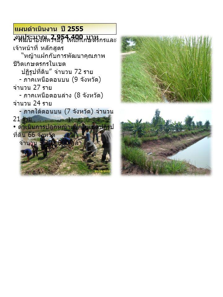 """ พัฒนาองค์ความรู้ ให้แก่เกษตรกรและ เจ้าหน้าที่ หลักสูตร """" หญ้าแฝกกับการพัฒนาคุณภาพ ชีวิตเกษตรกรในเขต ปฏิรูปที่ดิน """" จำนวน 72 ราย - ภาคเหนือตอนบน (9 จ"""