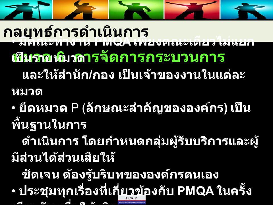 กลยุทธ์การดำเนินการ หมวด 6 การจัดการกระบวนการ มีคณะทำงาน PMQA เพียงคณะเดียวไม่แยก เป็นรายหมวด และให้สำนัก / กอง เป็นเจ้าของงานในแต่ละ หมวด ยึดหมวด P (