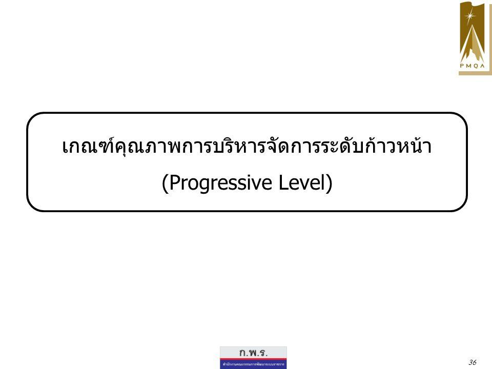 เกณฑ์คุณภาพการบริหารจัดการระดับก้าวหน้า (Progressive Level) 36