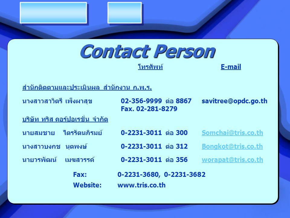 Contact Person โทรศัพท์ E-mail สำนักติดตามและประเมินผล สำนักงาน ก.พ.ร.