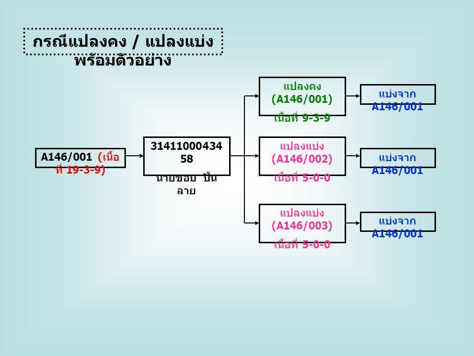 ตัวอย่างกรณีแปลงแบ่งทดลอง คีย์ A146/002 เข้าทำประโยชน์ โดย 3141000252641 นางก้อนทอง สุขนพกิจ ทำสัญญาเช่าซื้อ เลขที่ 00019/2555 ที่ตั้งที่ดิน หมู่ที่ 00 ต.
