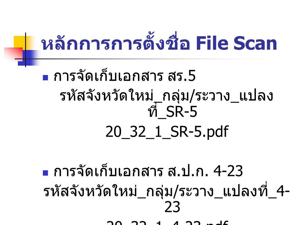 หลักการการตั้งชื่อ File Scan การจัดเก็บเอกสาร สร.5 รหัสจังหวัดใหม่ _ กลุ่ม / ระวาง _ แปลง ที่ _SR-5 20_32_1_SR-5.pdf การจัดเก็บเอกสาร ส. ป. ก. 4-23 รห
