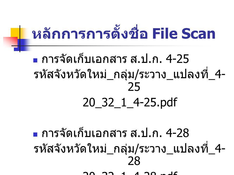 หลักการการตั้งชื่อ File Scan การจัดเก็บเอกสาร ส. ป. ก. 4-25 รหัสจังหวัดใหม่ _ กลุ่ม / ระวาง _ แปลงที่ _4- 25 20_32_1_4-25.pdf การจัดเก็บเอกสาร ส. ป. ก