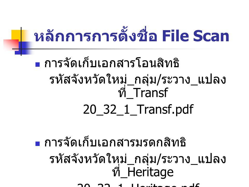 หลักการการตั้งชื่อ File Scan การจัดเก็บเอกสารโอนสิทธิ รหัสจังหวัดใหม่ _ กลุ่ม / ระวาง _ แปลง ที่ _Transf 20_32_1_Transf.pdf การจัดเก็บเอกสารมรดกสิทธิ