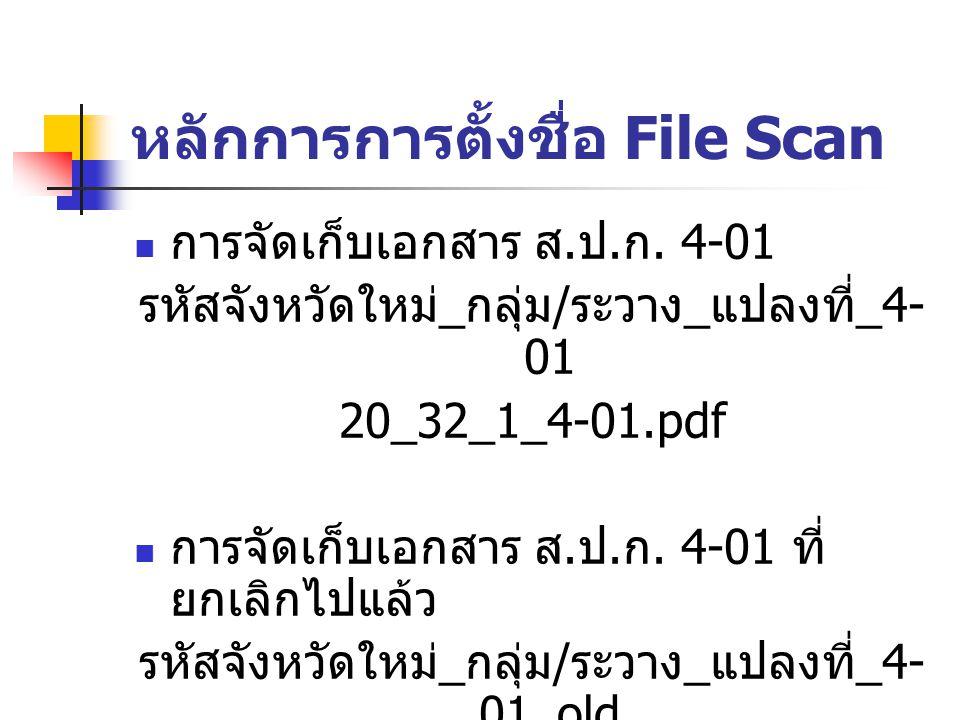 หลักการการตั้งชื่อ File Scan การจัดเก็บเอกสาร ส. ป. ก. 4-01 รหัสจังหวัดใหม่ _ กลุ่ม / ระวาง _ แปลงที่ _4- 01 20_32_1_4-01.pdf การจัดเก็บเอกสาร ส. ป. ก