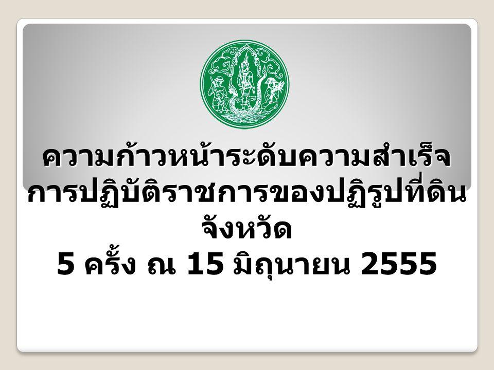 ความก้าวหน้าระดับความสำเร็จ การปฏิบัติราชการของปฏิรูปที่ดิน จังหวัด 5 ครั้ง ณ 15 มิถุนายน 2555