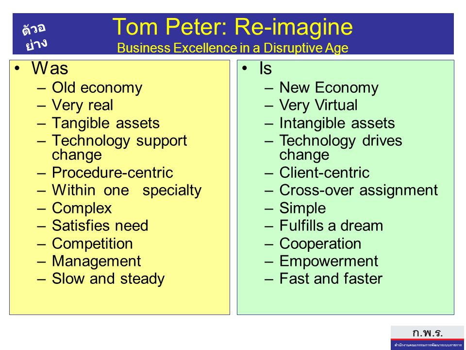 Tom Peter: Re-imagine Business Excellence in a Disruptive Age Was –Old economy –Very real –Tangible assets –Technology support change –Procedure-centric –Within one specialty –Complex –Satisfies need –Competition –Management –Slow and steady Is –New Economy –Very Virtual –Intangible assets –Technology drives change –Client-centric –Cross-over assignment –Simple –Fulfills a dream –Cooperation –Empowerment –Fast and faster ตัวอ ย่าง