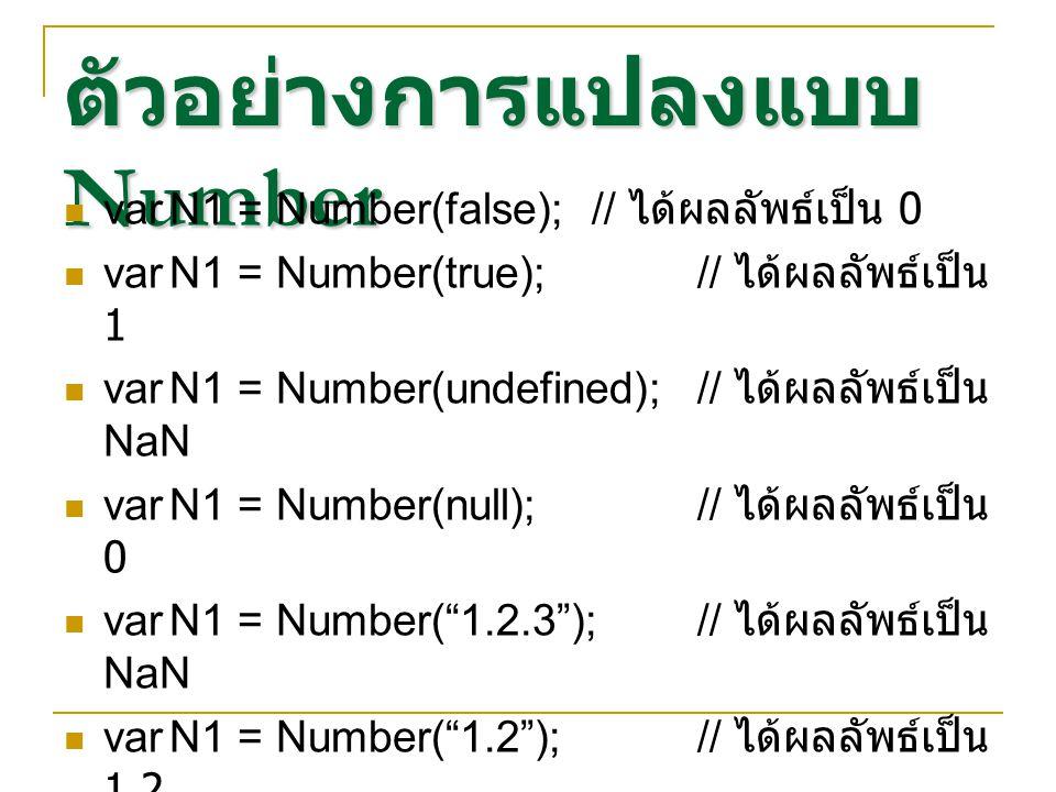 ตัวอย่างการแปลงแบบ Number varN1 = Number(false);// ได้ผลลัพธ์เป็น 0 varN1 = Number(true);// ได้ผลลัพธ์เป็น 1 varN1 = Number(undefined);// ได้ผลลัพธ์เป
