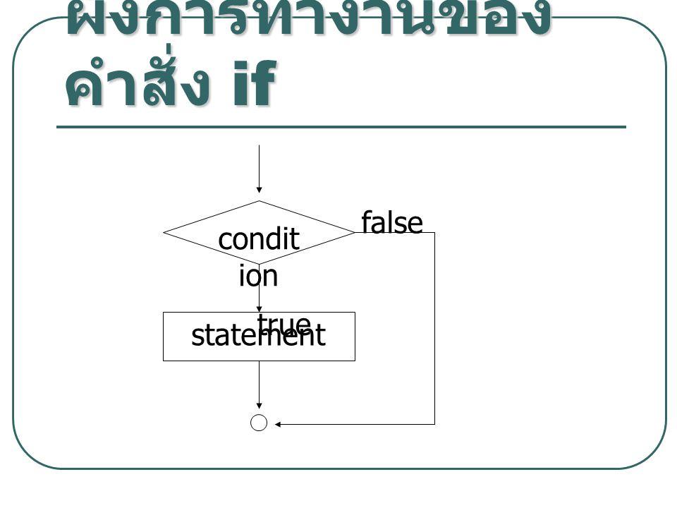 ผังการทำงานของ คำสั่ง if condit ion statement true false