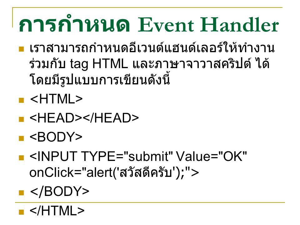 การกำหนด Event Handler เราสามารถกำหนดอีเวนต์แฮนด์เลอร์ให้ทำงาน ร่วมกับ tag HTML และภาษาจาวาสคริปต์ ได้ โดยมีรูปแบบการเขียนดังนี้