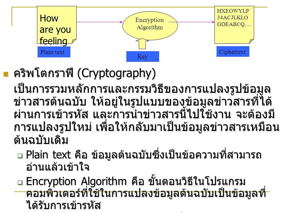 คริพโตกราฟี (Cryptography) คริพโตกราฟี (Cryptography) เป็นการรวมหลักการและกรรมวิธีของการแปลงรูปข้อมูล ข่าวสารต้นฉบับ ให้อยู่ในรูปแบบของข้อมูลข่าวสารที