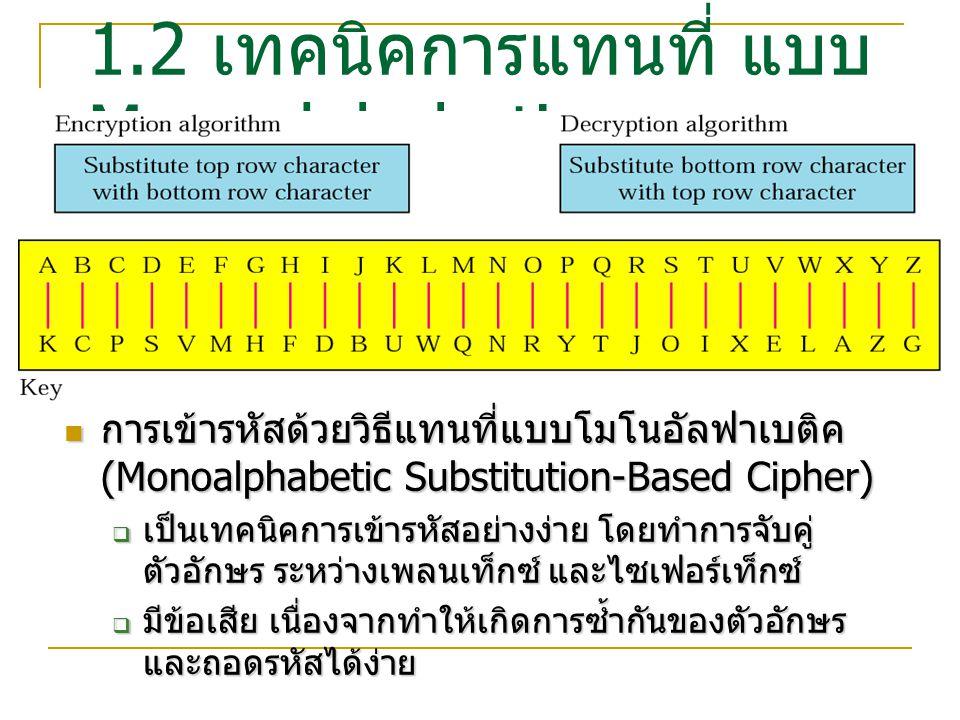 ตัวอย่าง Plaintext = car Plaintext = car Encrypt Cipher text คือ pkj