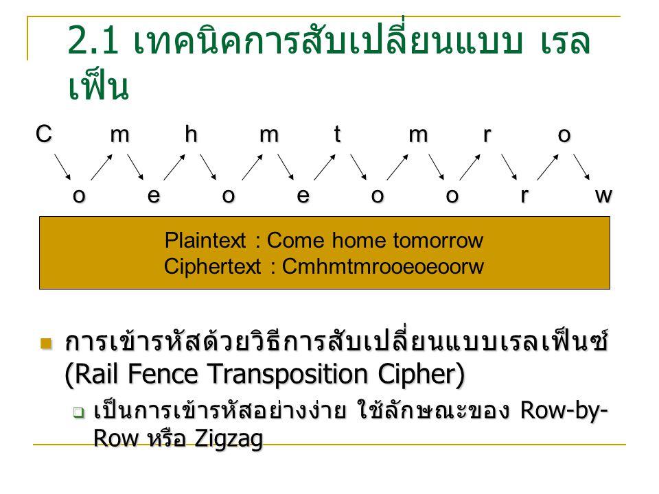 2.2 เทคนิคการสับเปลี่ยน แบบ คอลัมน์ การเข้ารหัสด้วยวิธีการสับเปลี่ยนแบบคอลัมน์ (Columnar Transposition Cipher) การเข้ารหัสด้วยวิธีการสับเปลี่ยนแบบคอลัมน์ (Columnar Transposition Cipher)  เป็นวิธีที่มีประสิทธิภาพวิธีหนึ่ง จะทำให้อักษรเดียวกันเมื่อผ่านการเข้ารหัส แล้วจะไม่มีการซ้ำกัน  โดยการกำหนดคีย์ขึ้นมา  เรียงลำดับคอลัมน์ตามคีย์ตัวอักษร  นำ Plaintext ไปเรียงตามคอลัมน์  ทำการเข้ารหัสตามคีย์ และ คอลัมน์ที่ กำหนด 14358726 COMPUTER thisisth ebestcla ssihavee vertaken Column Key TESVTLEEIEIRHBSESSHTHAENSCVKITAA Key : computer Plaintext : this is the best class I have ever taken Ciphertext : TESVTLEEIEIRHBSESSHTHAENSCVKITAA
