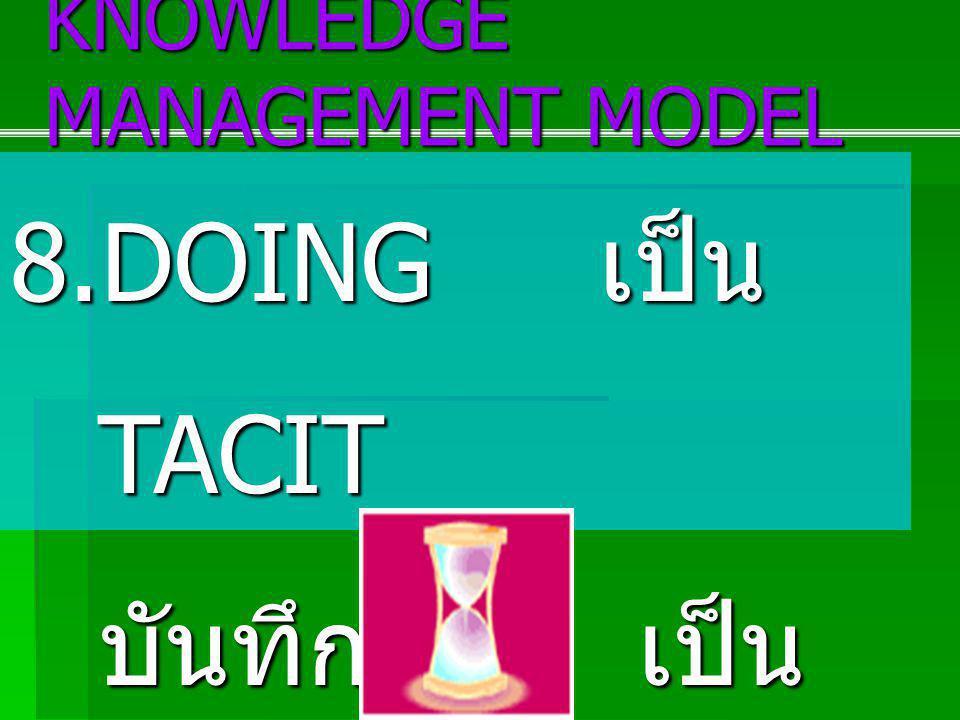 8.DOING เป็น TACIT บันทึก เป็น EXPLICIT KNOWLEDGE MANAGEMENT MODEL