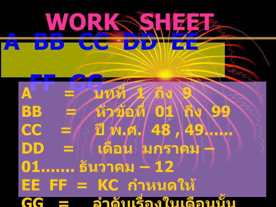 A BB CC DD EE FF GG WORK SHEET A = บทที่ 1 ถึง 9 BB = หัวข้อที่ 01 ถึง 99 CC = ปี พ. ศ. 48, 49...... DD = เดือน มกราคม – 01....... ธันวาคม – 12 EE FF
