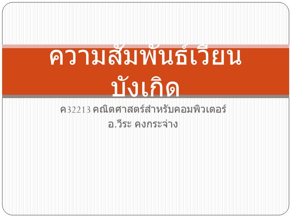 ค 32213 คณิตศาสตร์สำหรับคอมพิวเตอร์ อ. วีระ คงกระจ่าง ความสัมพันธ์เวียน บังเกิด