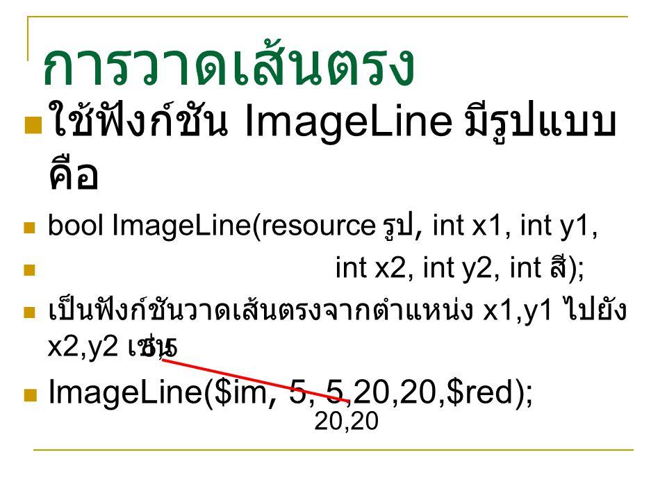 การวาดเส้นตรง ใช้ฟังก์ชัน ImageLine มีรูปแบบ คือ bool ImageLine(resource รูป, int x1, int y1, int x2, int y2, int สี ); เป็นฟังก์ชันวาดเส้นตรงจากตำแหน
